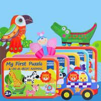 6-in-1 Kleinkind Spaß Cartoon Tiere Elefant Lion Jigsaw Frühe Pädagogisches Spielzeug Fahrzeuge Bus Holz Puzzle Spiel box Für Kind Geschenk