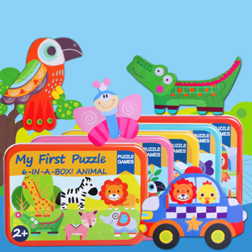 6-in-1 Toddler Fun Cartoon Animals Elephant Lion Jigsaw Early Educational Toy Vehicles Bus Wooden Puzzle Game Box For Kid Gift