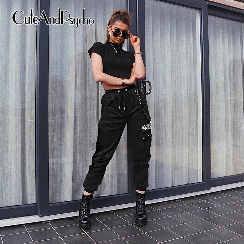 2019 Elastic High Waist Pocket Sweat   Pants   Women Letter Print Casual Trouser Jogger Black White   Pants     Capris   Chain Cuteandpsycho