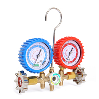 1/2PT Refrigerants Manifold Gauges Tools Set For R134A R12 R22 R404z Air Condition Refrigeration Blue Yellow Red
