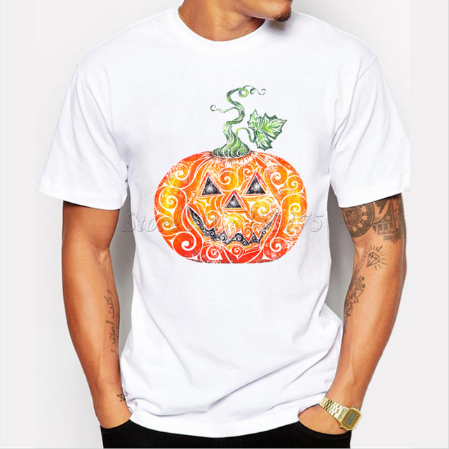 e822e88e 2019 Cool Men Fashion Halloween Pumpkin Design T shirt Novelty Tops  customize Printed Short Sleeve Tees