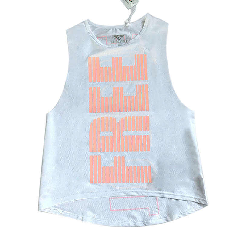 Women  Letter Printed Yoga Top Female Running Fitness Breathable Sports Gym Mesh Tank Top Sport Clothing