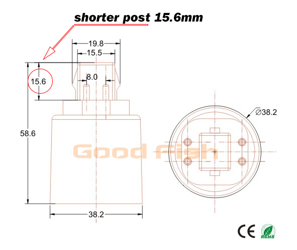 1000pcs Gx24q 1 2 3 To E26 E27 Adapter 4 Pins Gx24
