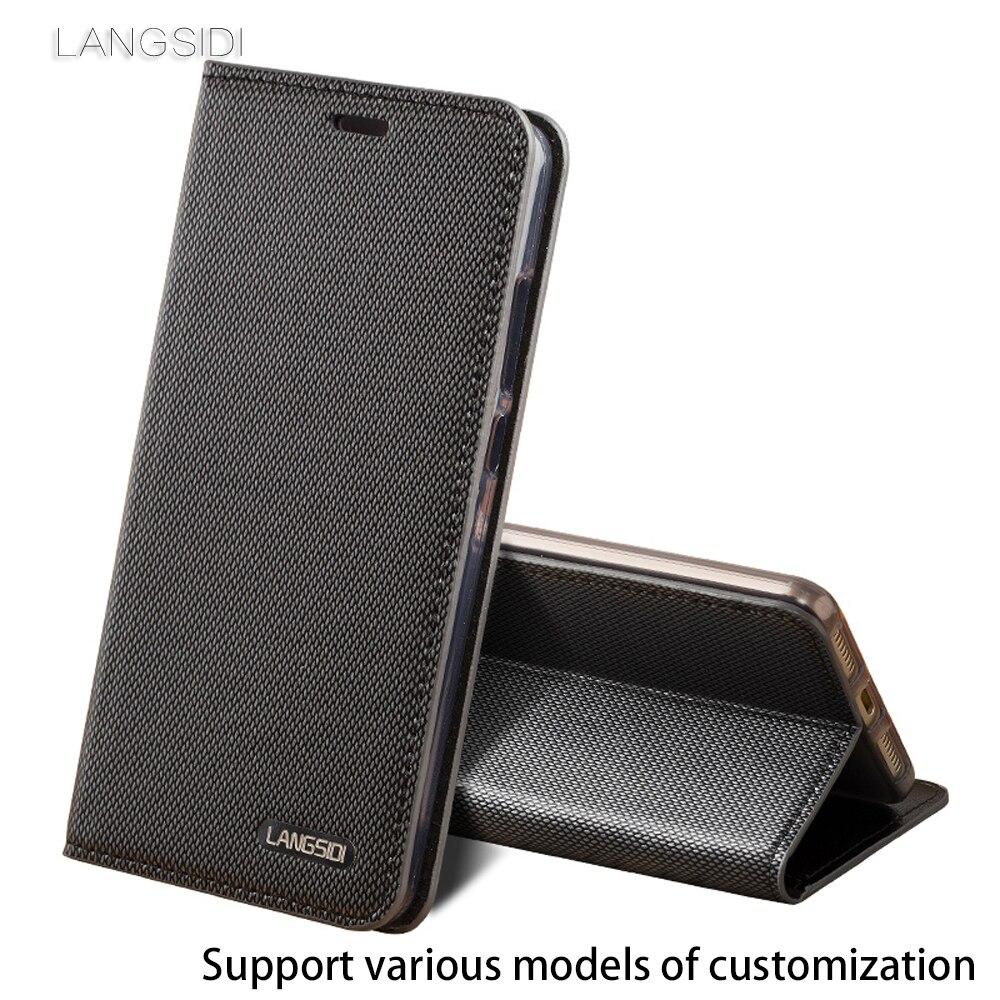 Modèle d'affaires de Cuir Véritable Trois fentes de cartes flip Cas Pour Samsung A7 2017 Diamant motif Silicone coque intérieure en cuir cas