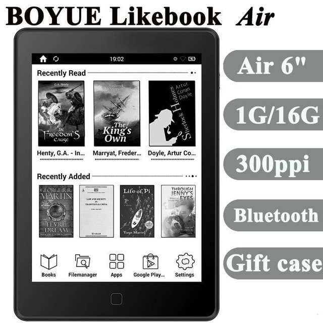 """BOYUE T65S likebook air ebook reader 6"""" 1G/16G 300ppi e ink touch screen ereader Android bluetooth wifi gift cover free shipping"""