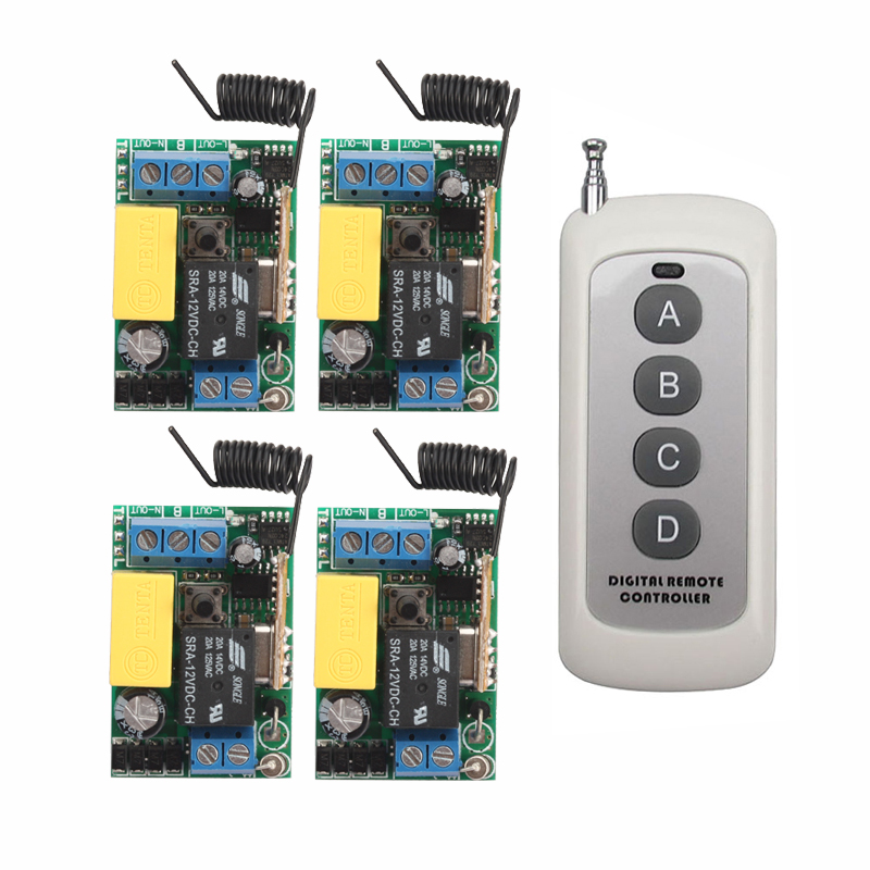 цена на AC 220V 1CH Wireless Remote Control Switch System 4 Receiver & 4 Keys Remote 315mhz/433mhz
