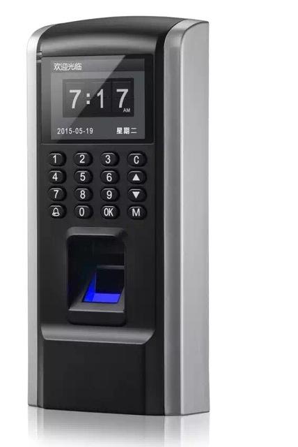 Saída Wiegand biométrico de impressões digitais teclado de controle de acesso e comparecimento do tempo rfid fechadura da porta livre 5 pcs cartão de identificação
