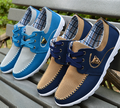 New 2016 Fashion Spring Round Toe Lace Up working Flat Casual canvas Run men shoes