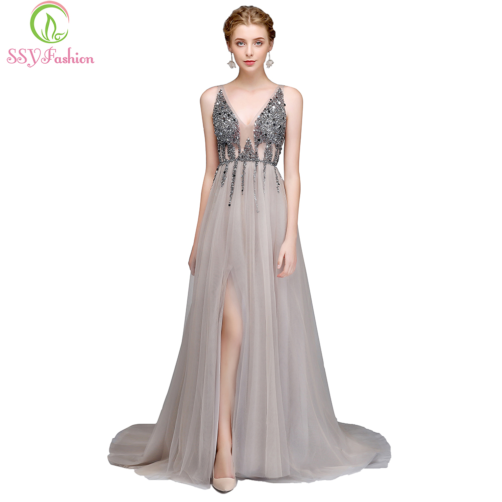 SSYFashion New Luxury Evening Dress Sexy V neck Backless Beading High split Tulle Long Prom Gown