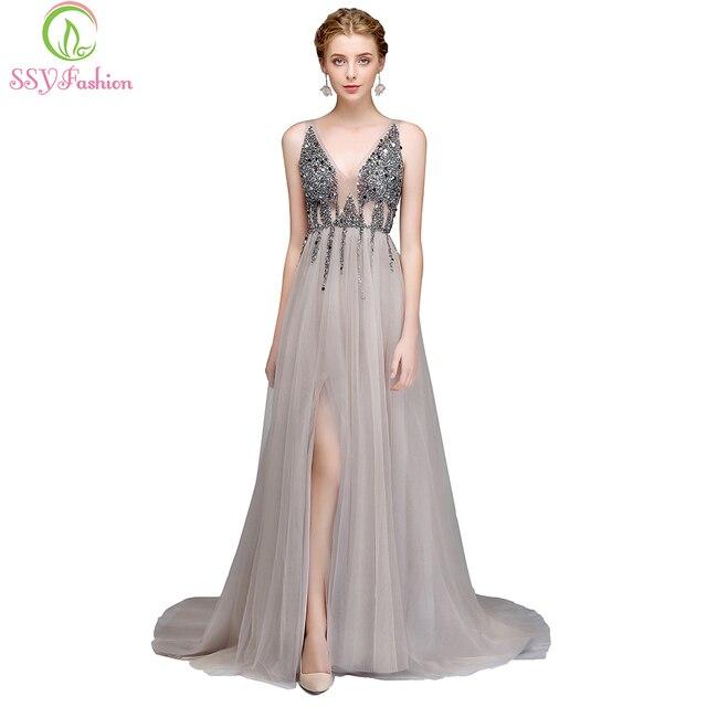 יוקרה חדשה SSYFashion גבוהה פיצול ללא משענת ואגלי ערב השמלה סקסי צווארון V טול ארוך נשף שמלת שמלות רשמיות מסיבה מותאמת אישית