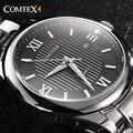 Comtex hombres pulsera de acero inoxidable reloj de cuarzo con números romanos y dial grande marca de moda reloj de los hombres relogio masculino