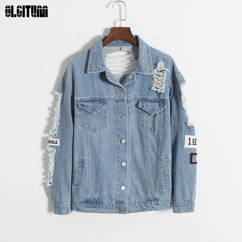 OLGITUM 2018 Fashion Vintage Wash Water Denim Jacket Distrressed Back Applique Loose Outerwear BF Denim Coat JK200