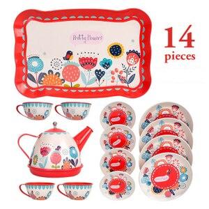 Image 4 - 14PCS קומקום ספל תה בריטי סגנון אחר הצהריים תה Tinplate צעצועי ילדים מטבח ילדים תה סט צעצועי להעמיד פנים לשחק צעצועי עבור ילדה