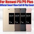 Case para huawei p9 plus original oficial 1:1 smart view case llamada cubierta del tirón del cuero para huawei p9/p9 plus id n °: P91