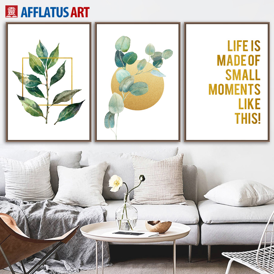 Plant Leaves Moon Golden Quotes Nordic Poster Wall Art Canvas Painting Posters And Prints Wall Pictures For Living Room Decor