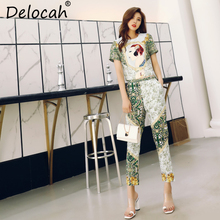 Delocah Spring Summer Women Suits Runway Fashion Designer Gorgeous Sequined Short Tops And Vintage Print Long Pants 2 Pieces Set delocah women spring summer suits runway fashion designer beading sequined shirt elegant vintage slit long pants two pieces set