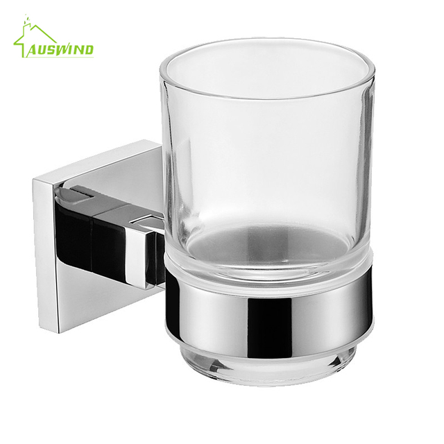 Modern Silver Sus 304 Polished Chrome Toothbrush Holders Stainless Steel Single Tumbler Cup Holder Bathroom Accessories