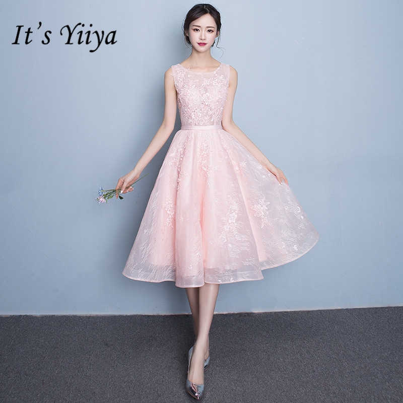 It's YiiY New Simple Knee-length   Bridesmaid     Dresses   Fashion A-line Pink Party Frocks YG002