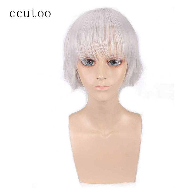 ccutoo 12 Silver White Short Fluffy Layered Men s Synthetic Hair Cosplay Cos Wigs Free Shipping