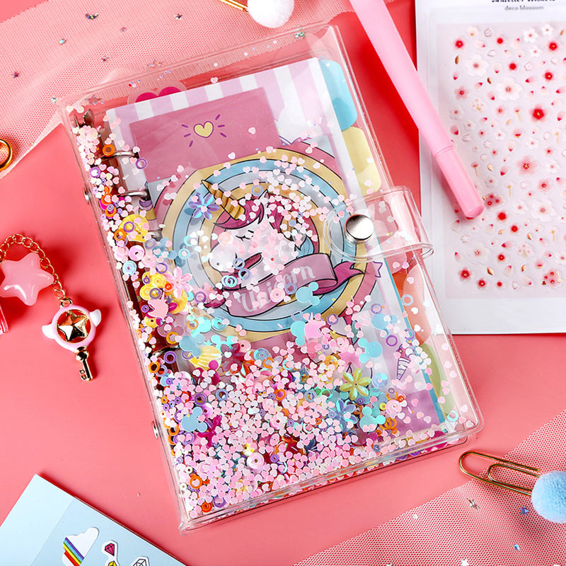 2019 Yiwi Pink A5 A6 PVC Creative Laser Binder Loose Notebook Diary Loose Leaf Note Book Planner Cover Office Supplies image