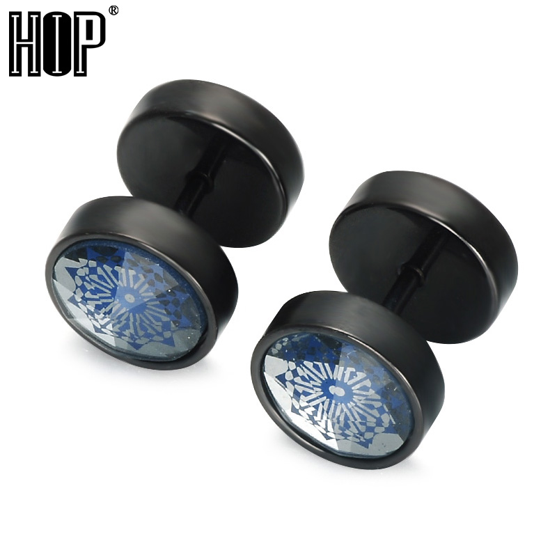 HIP Double Sided Round Earrings Black Stainless Steel Snow Pattern Stud Earrings for Men Jewelry