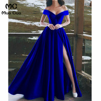 2018 Royer Blue Off Shoulder Evening Dresses with Short Sleeve Front Slit Satin Formal Evening Party Dress for Women
