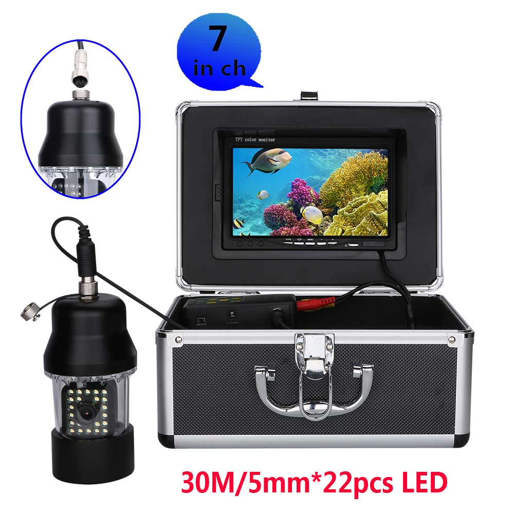 Mountainone 30m Professional Underwater Fishing Video Camera Fish Finder 7 Inch Lcd Waterproof 22 Leds 360 Degree Rotating