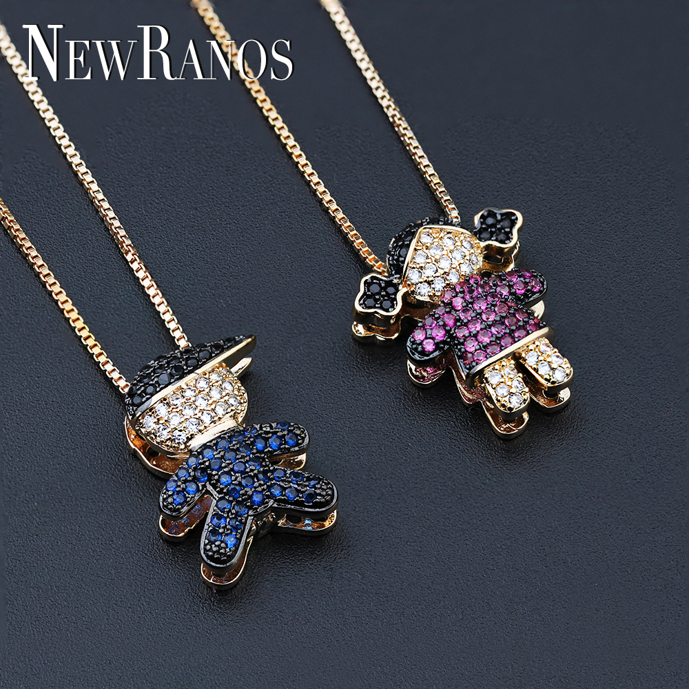 Newranos Love Boy Girl Pendant Necklace Family Mom Dad Daughter Son Necklaces cubic zirconia Kid necklace Women Gift NWX001662Newranos Love Boy Girl Pendant Necklace Family Mom Dad Daughter Son Necklaces cubic zirconia Kid necklace Women Gift NWX001662