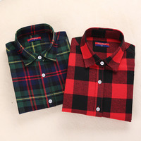 Brand New Flannel Shirt Women Long Sleeve Blouses Thicken Women Plaid Shirt Turn Down Collar Ladies