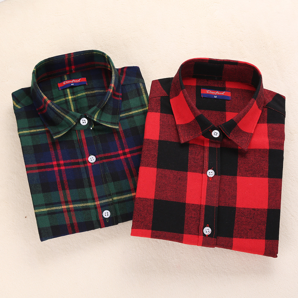 Buy new womens flannel shirt women long Womens red tartan plaid shirt