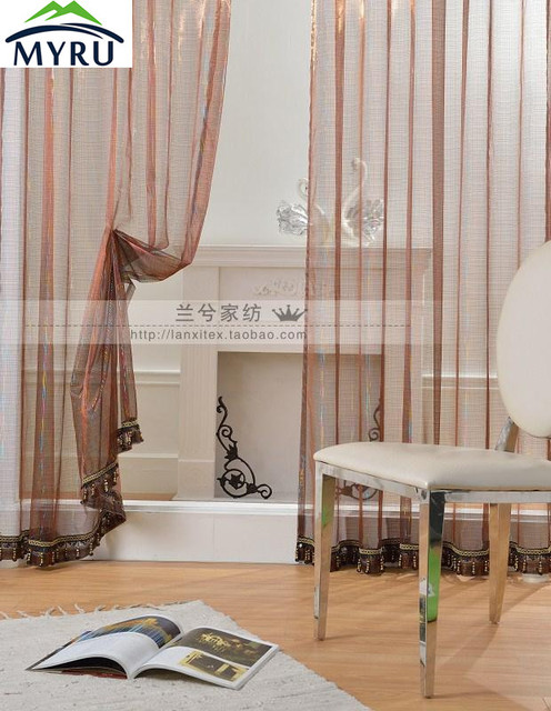 New arrival Gold and Silver voile curtains decorative ...
