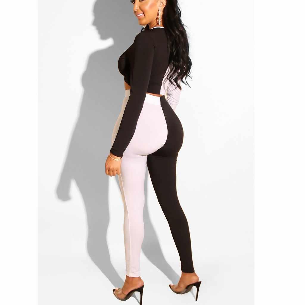 Сексуальный черный белый лоскутный Тонкий костюм с длинными рукавами из двух частей/Комплект женский сексуальный v-образный вырез облегающий топ и модные брюки-карандаш