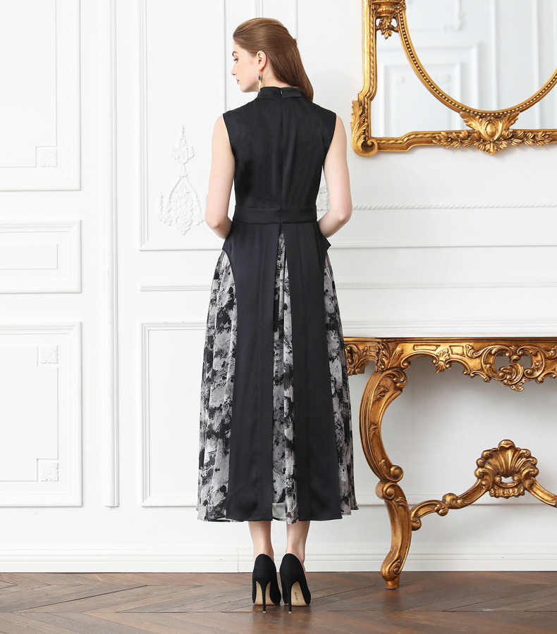 1a1186a58fd VOA Silk Beading Plus Size Black Dress Women Vintage Printed Sleeveless Slim  Tunic Long Dresses Casual Summer sukienki A312