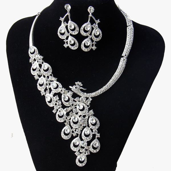 Chran Peacock Gold Color Clear Austrian Crystal Rhinestone Earing and Necklace Wedding Accessories Bride Jewelry Sets