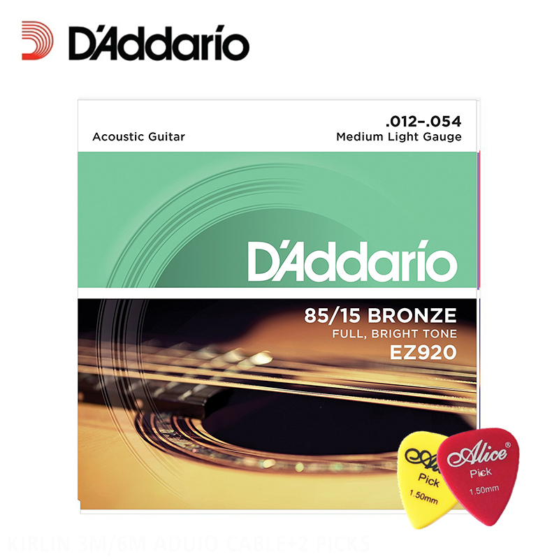 DAddario EZ920 Great American Bronze Medium Light (.012-.054) Acoustic Guitar Strings Daddario Guitar Strings (with 2pcs picks)