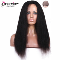PREMIER LACE WIGS Silk Top Full Lace Wigs Indian Remy Hair Kinky Straight [SFLW KS]