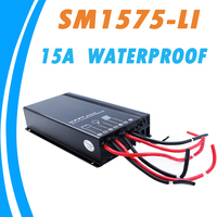 15A MPPT Waterproof Solar Charge Controller 12V 24V IP67 for 3 to 8 Series 3.7V Lithium Battery with 5 Stages Time Adjustment