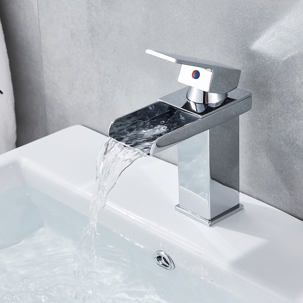 Basin Tap Vanity Sink Deck Mount Waterfall Bathroom Faucet Vanity Vessel Waterfall Basin Sinks Mixer Tap Cold And Hot Water Tap led waterfall bathroom basin faucet dual handle vanity sink mixer tap deck mount