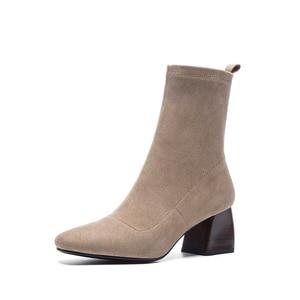 Image 2 - Vangull femmes bottes style britannique troupeau velours stretch bottes décontracté mode interne en cuir européen et américain tout match