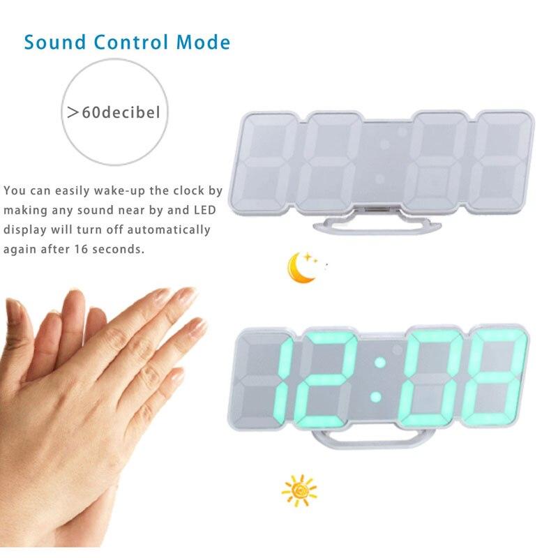 Couleur activée par la voix 115 télécommande sans fil LED télécommande température réveil chambre créative muet - 3