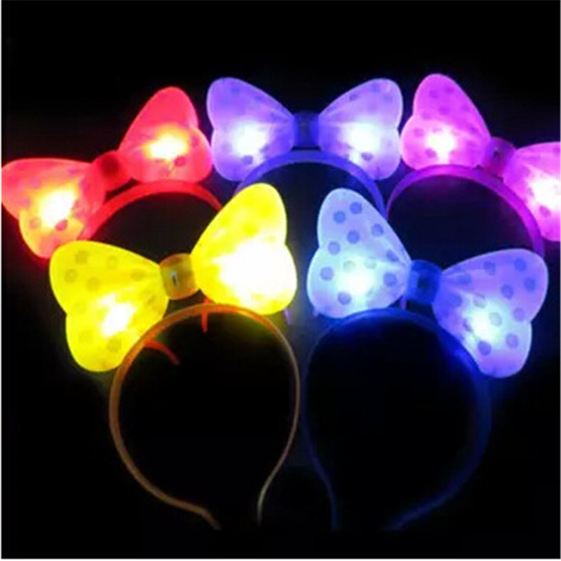 New Minnie Mouse Ears Bow Headband Led Light Up Flashing Bow
