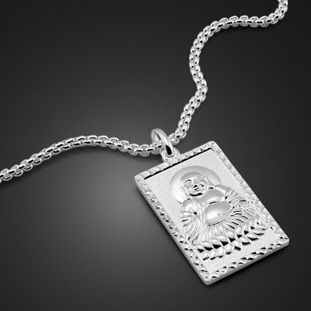 National Style Men s Solid Silver Pendant Necklace 925 Sterling Silver  Buddhist Silver Pendant Design Men s Fashion Jewelery 2e31a0d22