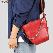 PNDME designer handmade fashion vintage genuine leather ladies handbag simple cowhide chain womens shoulder messenger bags