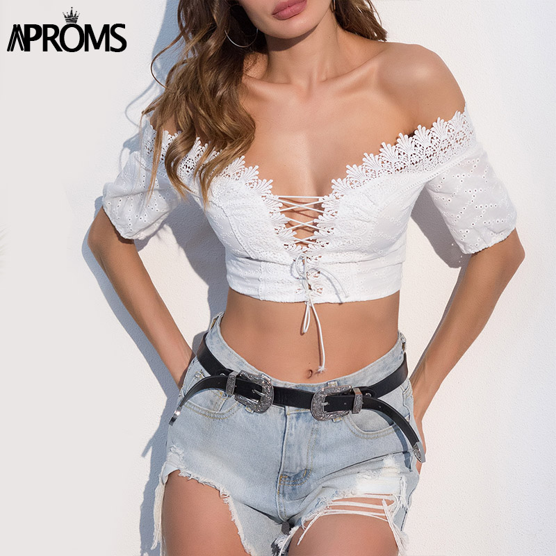 Aproms Elegant White Lace Up Crop   Top   Women Fashion 2018 Short Sleeve Off Shoulder Slim   Tank     Tops   Female Summer Streetwear Tees