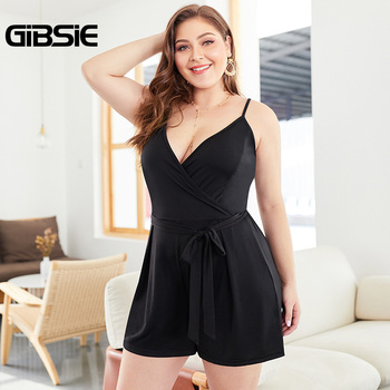 GIBSIE Big Size 3xl 4xl Deep V Neck Spaghetti Strap Romper with Belt Summer Women Black Sexy Backless Sleeveless Playsuits