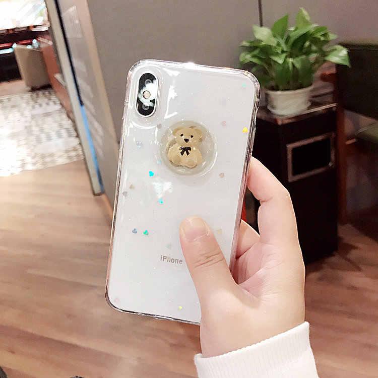 Caixa do telefone Para Huawei companheiro 9 10 20 lite pro Nova 2 plus 3i Bonito 3D glitter coração urso macio coque capa Capa protetora de borracha