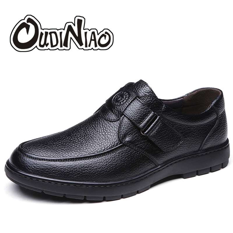 OUDINIAO Mens Shoes Casual Round Toe Slip On Shoes Men Loafers Cow Split Leather Men Shoes Soft Comfortable 2018 Black Brown