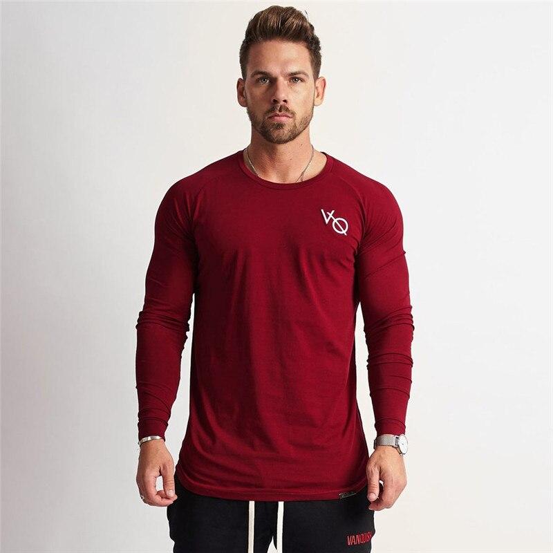 2019 New Fashion High-elasticity Sporting   T  -  shirt   Men long Sleeve Fitness   T     shirt   Men's solid gyms Bodybuilding   T  -  shirt