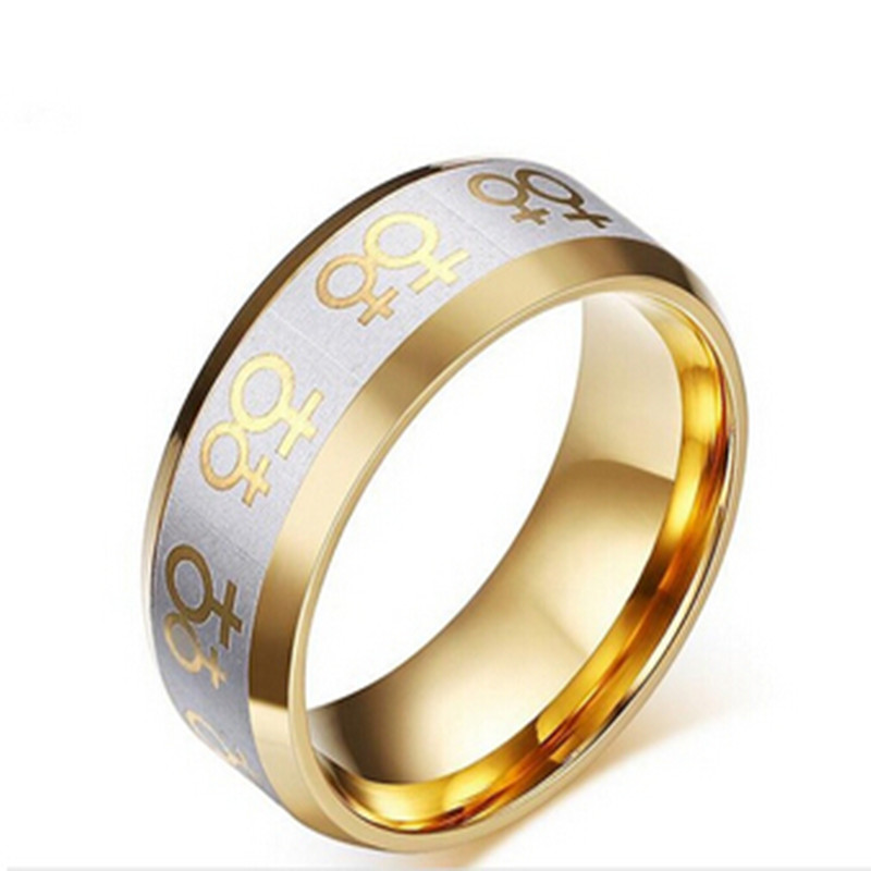 2016 Rushed New Arrival Men Sapphire Jewelry 18k Plated Rings For Lesbian Ring Stainless Steel Female Gay Pride Jewelry Pr-009