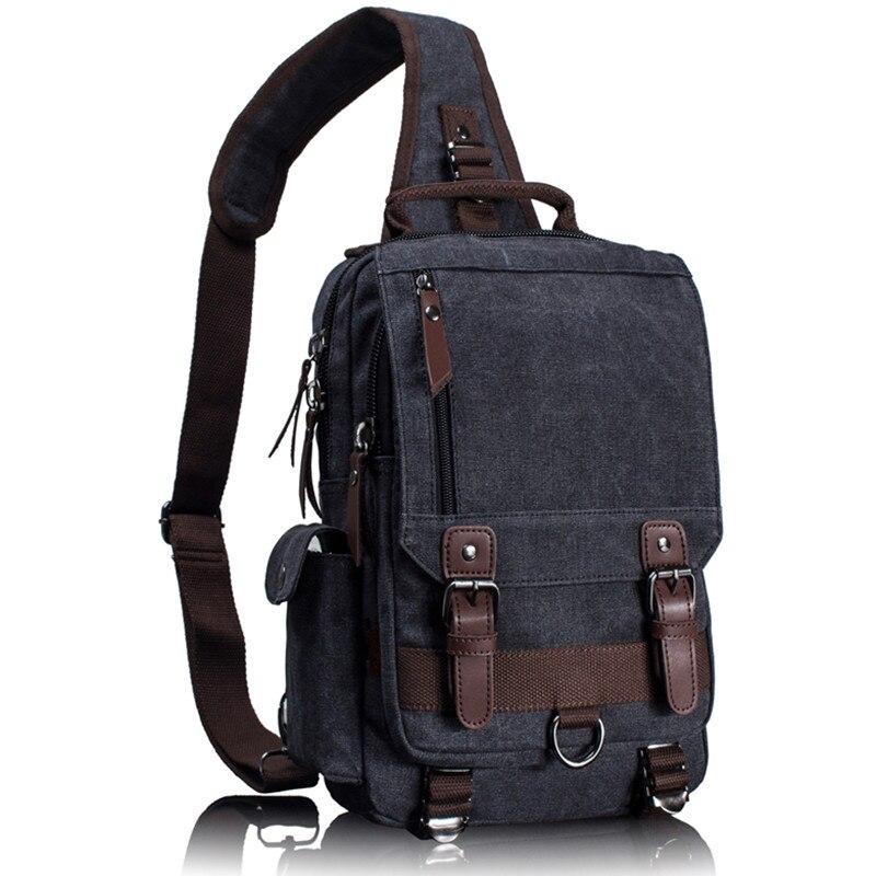 Tourya Canvas Crossbody Bags for Men Women Retro Leather Military Messenger Chest Bag <font><b>Shoulder</b></font> Sling Bag Large Capacity Handbag